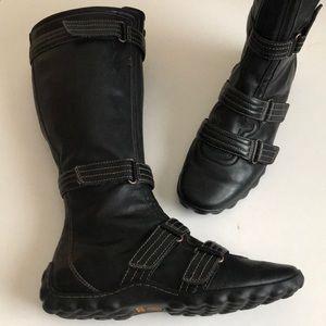 Timberland tall  boots Velcro straps + zipper